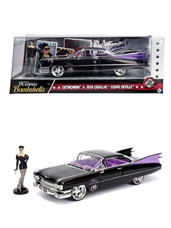 Catwoman & 1959 Cadillac Coupe Devile - DC Comics Bombshells - Metals Die Cast - Hollywood Rides