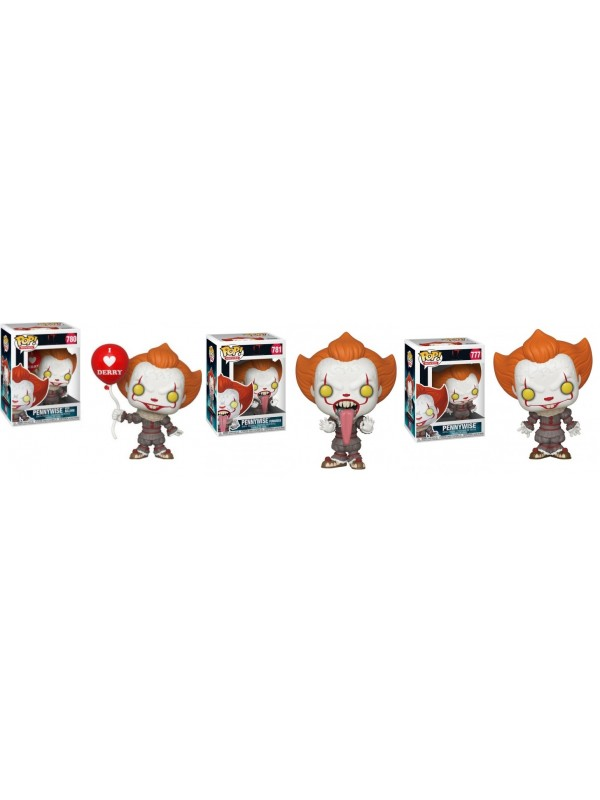 Pennywise 777 + Pennywise with Balloon 780 + Pennywise Funhouse 781 - IT Chapter Two - POP! Movies - Set di 3 pezzi