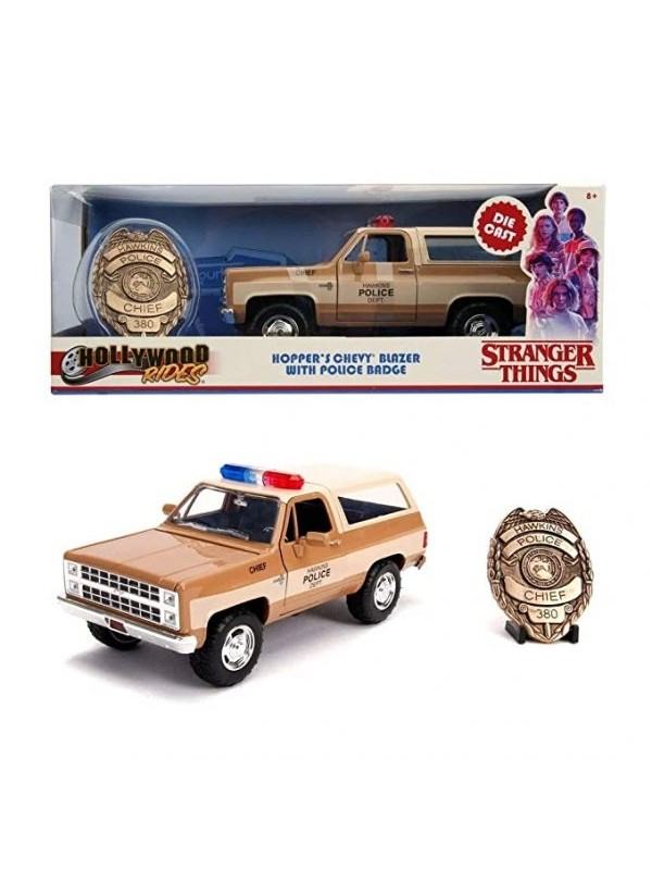 Hopper's Chevy Blazer With Police Badge - Stranger Things - Metals Die Cast - Hollywood Rides