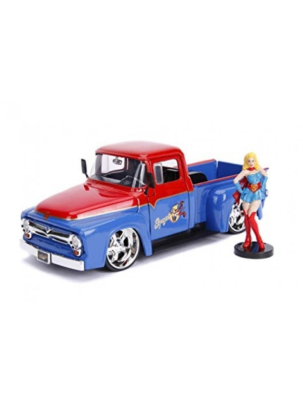 Supergirl & 1956 Ford F-100 Pickup - DC Comics Bombshells - Metals Die Cast - Hollywood Rides