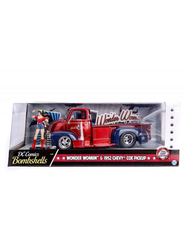 Wonder Woman & 1952 Chevy Coe Pickup - DC Comics Bombshells - Metals Die Cast - Hollywood Rides
