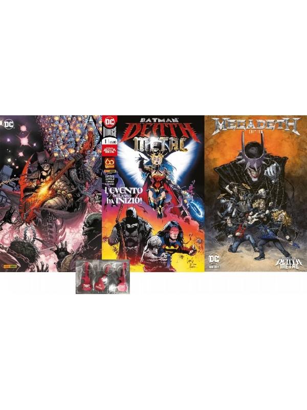 Batman Death Metal Pack: N. 1 Regular + N. 1 Variant Band Edition + N. 1 Variant Metal + 3 Portachiavi
