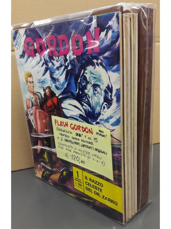 Flash Gordon - Albi Non Rilegati - Fratelli Spada - Sequenza in blocco 1/15 completa di 2 raccoglitori cartonati originali e 3 Poster