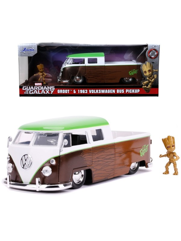 Groot & 1963 Volkswagen Bus Pickup - Guardians of The Galaxy - Metals Die Cast - Hollywood Rides
