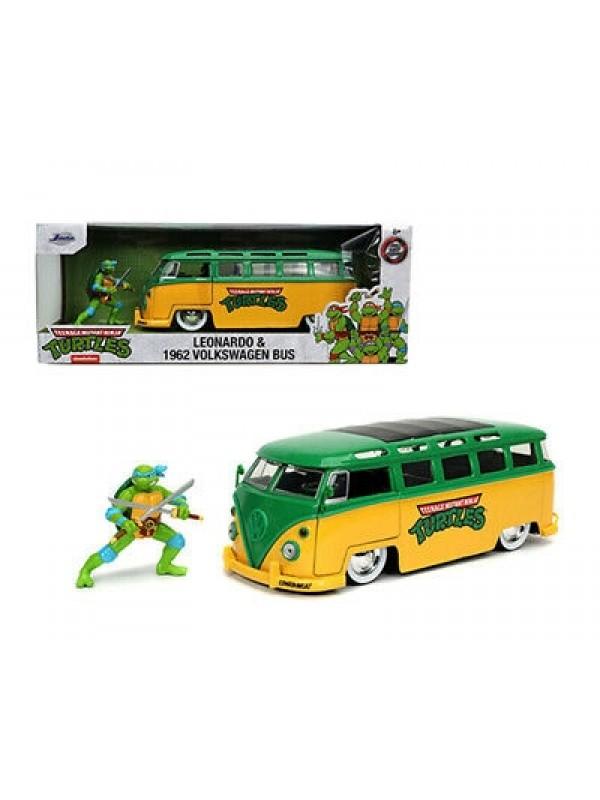 Leonardo & 1962 Volkswagen Bus - Teenage Mutant Ninja Turtles - Die Cast - Hollywood Rides - Jada Toys