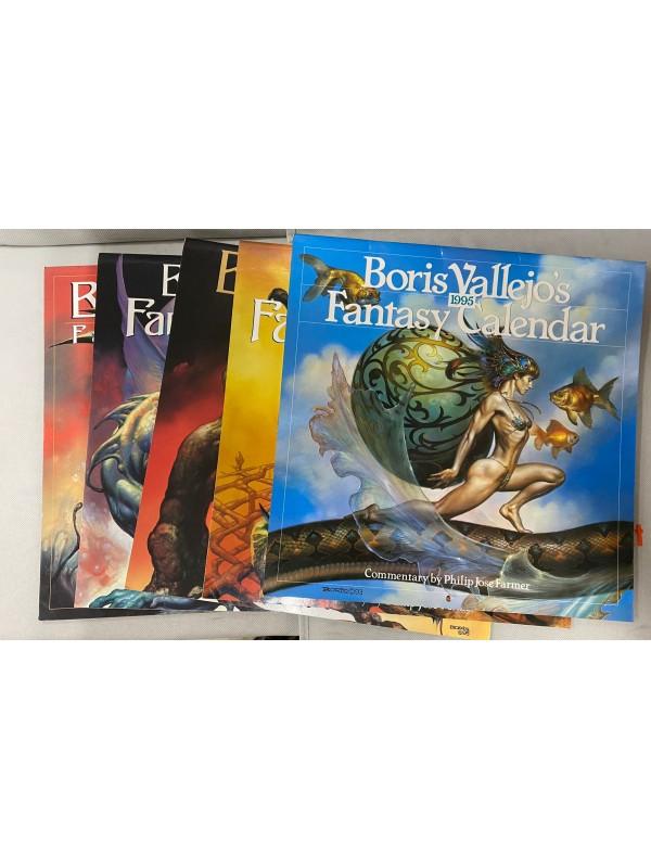 Boris Vallejo - Blocco di 5 Fantasy Calendar (Calendario) - 1995, 1996,1997, 1998, 2000 - Ed. Inglese - Workman Publishing